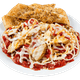 Chicken Parmesan On a bed of Pasta