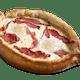 Two Eggs Gondola Pizza with Pastrami