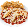 Baked Chicken Parmesan on a Bed of Pasta