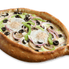 Four Veggie Toppings Egg Gondola Pizza