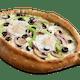 Four Veggie Toppings Egg Gondola Pizza