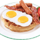 Waffles with Bacon, Eggs, & Sausage & Catering